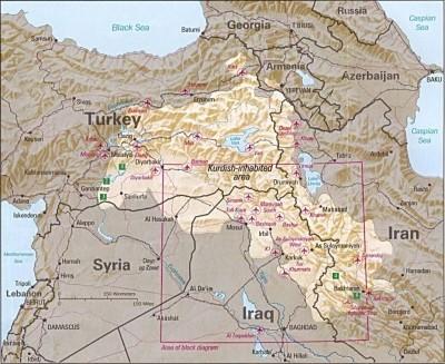 Kurdistán je  světle označenou oblastí. Zdroj: Wikimedia