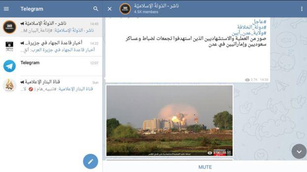 Příklad džihádistického kanálu na Telegramu. Zdroj: BBC