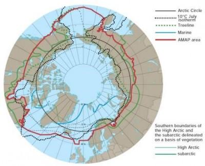 Různé vymezení Arktidy. Zdroj: Arctics Knowledge Hub