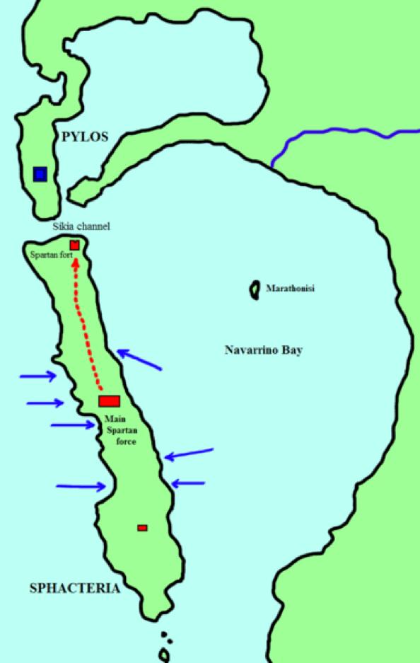 Útok Athéňanů na spartskou posádku na Sfaktirii. Útok přišel z více stran najednou aSparťané se stáhli do pevnosti na severu ostrova, kde se později vzdali. Zdroj: Wikipedia Commons