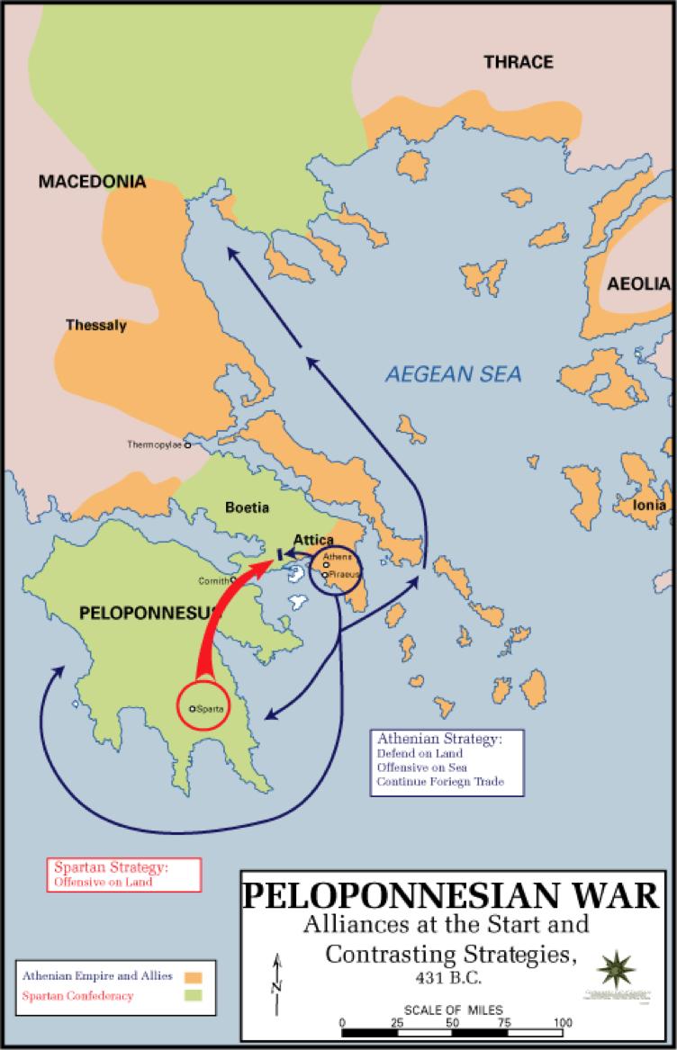Schematické znázornění počáteční strategie Sparty a Athén. Ke změně tohoto modelu došlo právě kapitulovaní Sparťanů. Zdroj: U.S. Army Cartographer