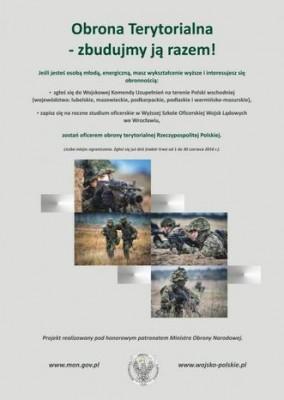 Rekrutačních plakát hledá nové důstojník teritoriální obrany. Zdroj: mon.gov.pl