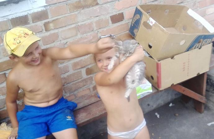 Děti a kotě - žijící kilometr a půl od Doněckého letiště - pod každodenním obstřelem. Foto: Tadeáš