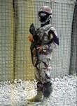 Irácké komando na kontrolním stanovišti, severní Irák. | An Iraqi commando at a check-point, northern Iraq.