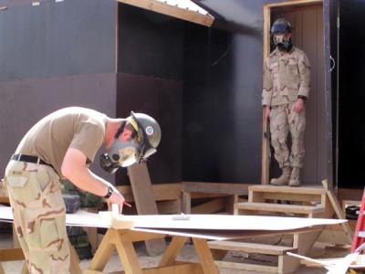 Výcvik v plynových maskách   Training in gas masks (Foto František Šulc)